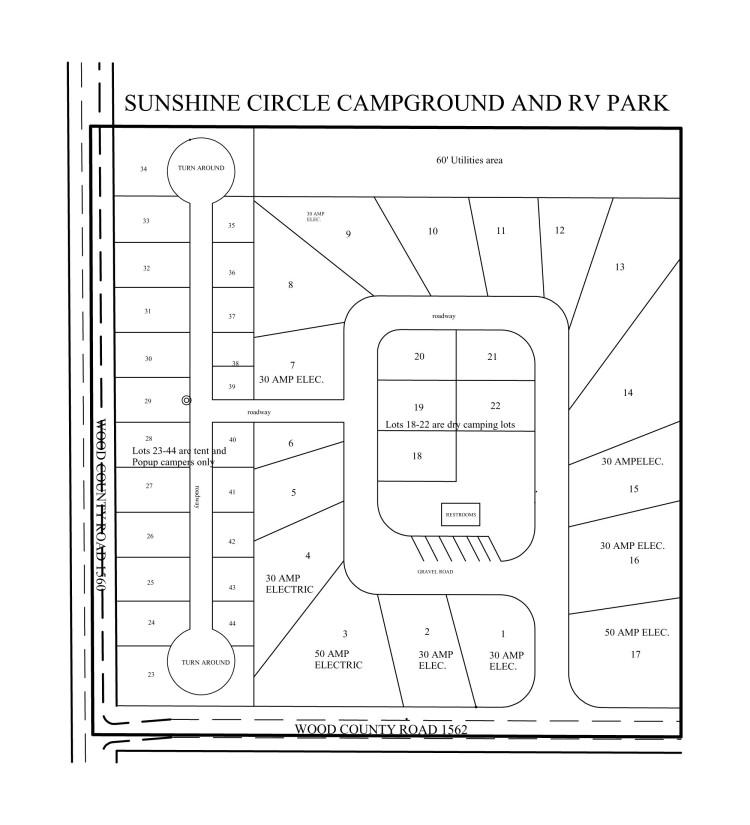 Layout map of Sunshine Circle Campground