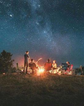 Camping under starlit sky